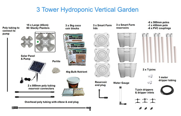 3 Tower Hydroponic Vertical Garden System - Package Contents
