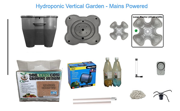 Hydroponic Vertical Garden System - Mains Powered Package Contents