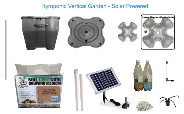 Hydroponic Vertical Garden System - Solar Powered Package Contents