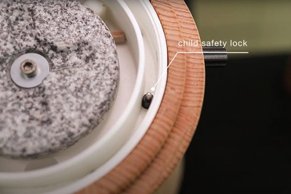 Stone Grain Mill Australia - Electric - Mona - Waldner Biotech - Child Safety Lock View