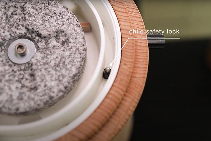 Stone Grain Mill Australia - Electric - Mona - Waldner Biotech - Child Safety Lock View